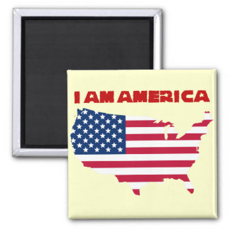 I am America (red state) Square Magnet
