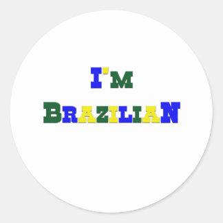 I am Brazilian Round Sticker