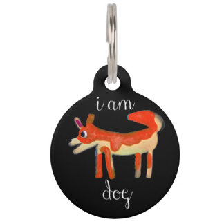 """""""I Am Dog"""" Funny dog tag/collar for all size dogs Pet Tag"""