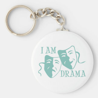 I am drama light blue key ring