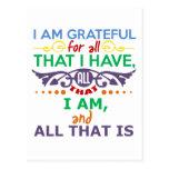 I Am Grateful Postcard