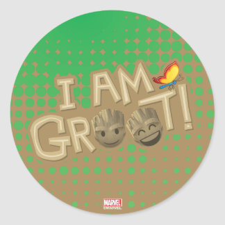 """I Am Groot"" Emoji Classic Round Sticker"