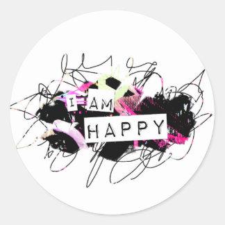 i am happy  Feel Good.Be Happy.Tell the World. Classic Round Sticker