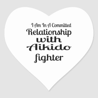 I Am In A Committed Relationship With Aikido Fight Heart Sticker