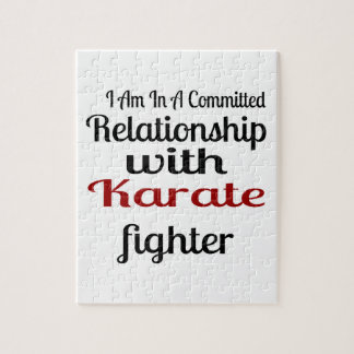 I Am In A Committed Relationship With Karate Fight Jigsaw Puzzle