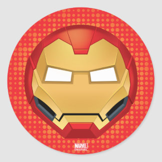 """I Am Iron Man"" Emoji Classic Round Sticker"