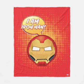 """I Am Iron Man"" Emoji Fleece Blanket"