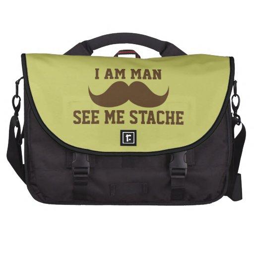 I am man see me stach mustache moustache funny laptop commuter bag