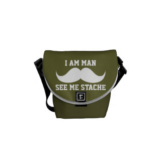 I am man see me stach mustache moustache FUNNY Courier Bags