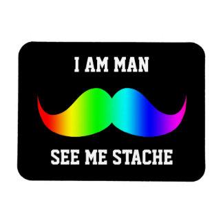 I am man see me stach mustache moustache RAINBOW Flexible Magnet