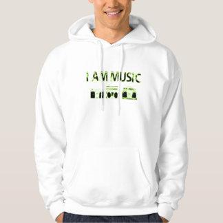 I-am-music-lime-green-black Hoodie