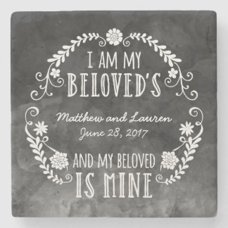 I Am My Beloved's, Wedding Black Watercolor Stone Coaster