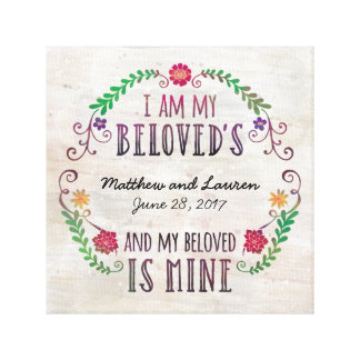 I Am My Beloved's, Wedding Date Watercolor Canvas Prints