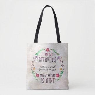 I Am My Beloved's, Wedding Date Watercolor Tote Bag