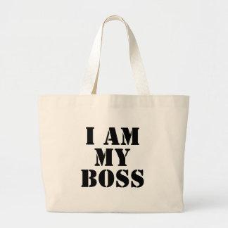 I am My Boss Slogan Canvas Bags