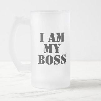 I am My Boss. Slogan. Frosted Glass Mug