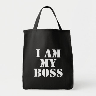 I am My Boss. Slogan. Grocery Tote Bag