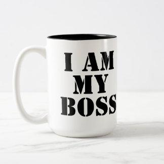 I am My Boss. Slogan. Two-Tone Mug