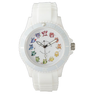 I am not a morning person rainbow owls wristwatches