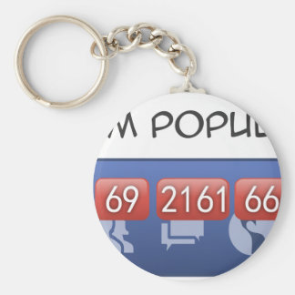 i am popular basic round button key ring