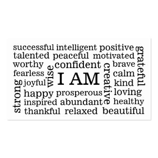 I AM Positive Affirmations for Self Image Wellness Pack Of Standard Business Cards
