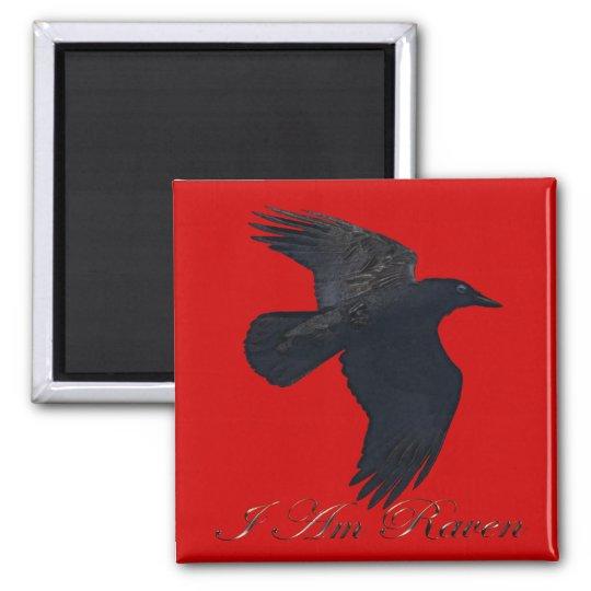 I AM RAVEN Flying Crow Art Magnet