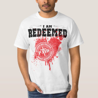 I am redeemed busted heart stamp t-shirt