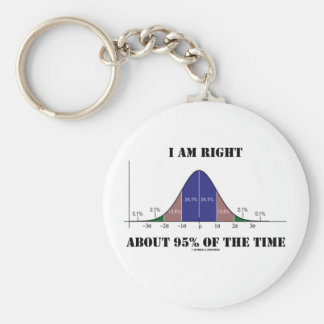 I Am Right About 95% Of The Time Bell Curve Humor Key Chains