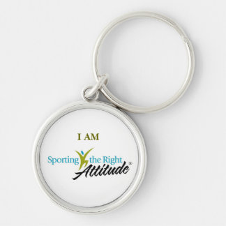 I AM Sporting the Right Attitude Silver-Colored Round Key Ring