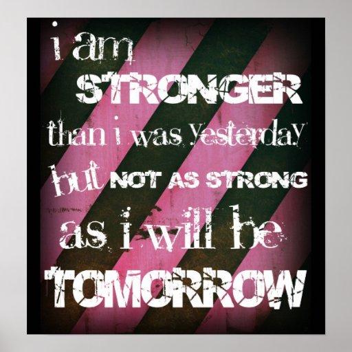 """I am stronger..."" Ladies Elite Fitness Poster"
