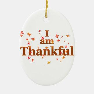 i am thankful ceramic ornament