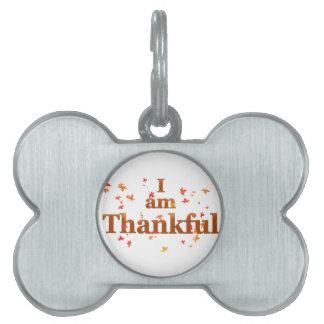 i am thankful pet ID tag