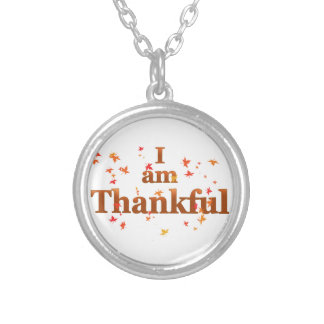 i am thankful silver plated necklace