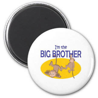 I am the big brother monkey 6 cm round magnet