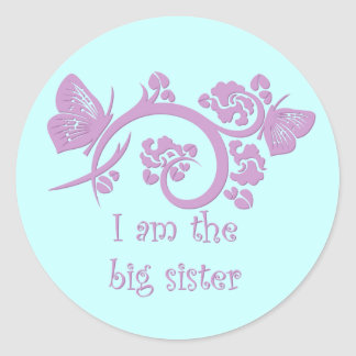 I am the big sister purple stickers