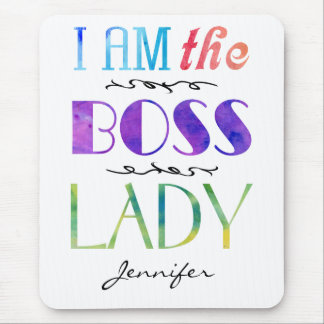 I Am The Boss Lady Women's Typography Personalized Mouse Pad