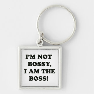 I Am The Boss Silver-Colored Square Key Ring
