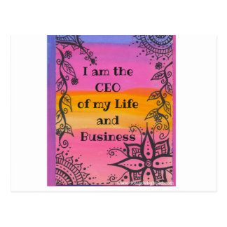 I am the CEO of my life positvity quote Postcard