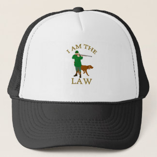 I am the law with a farmer with a gun trucker hat