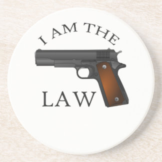 I am the law with a hand gun coaster