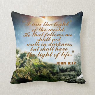 """I AM THE LIGHT OF THE WORLD"" THROW PILLOW CUSHION"