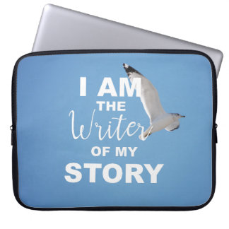 I am the writer of my story, blue sky laptop sleeve