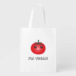 I Am Vegan Cute Kawaii Happy Tomato Manga Emoji Reusable Grocery Bag