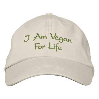 I Am Vegan For Life. Green. Slogan. Custom Embroidered Hat