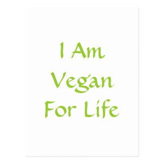 I Am Vegan For Life. Green. Slogan. Custom Postcard