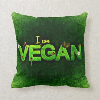 I Am Vegan Written With A Grassy Nature Texture Cushion