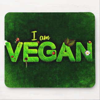 I Am Vegan Written With A Grassy Nature Texture Mouse Pad