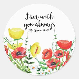 I Am With You Always Classic Round Sticker