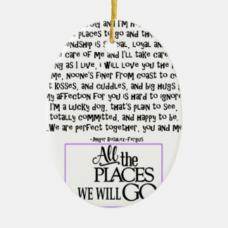I am your dog FNL BACK purple copy Ceramic Oval Decoration
