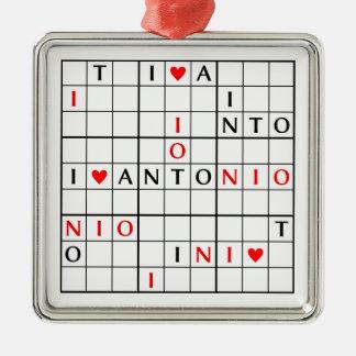 I♥ANTONIO Silver-Colored SQUARE DECORATION